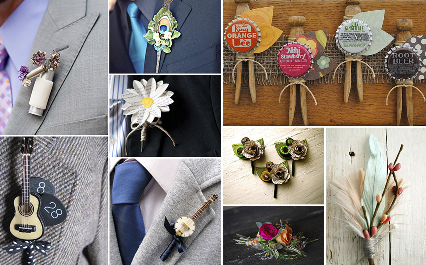 pins instead of traditional boutonnieres