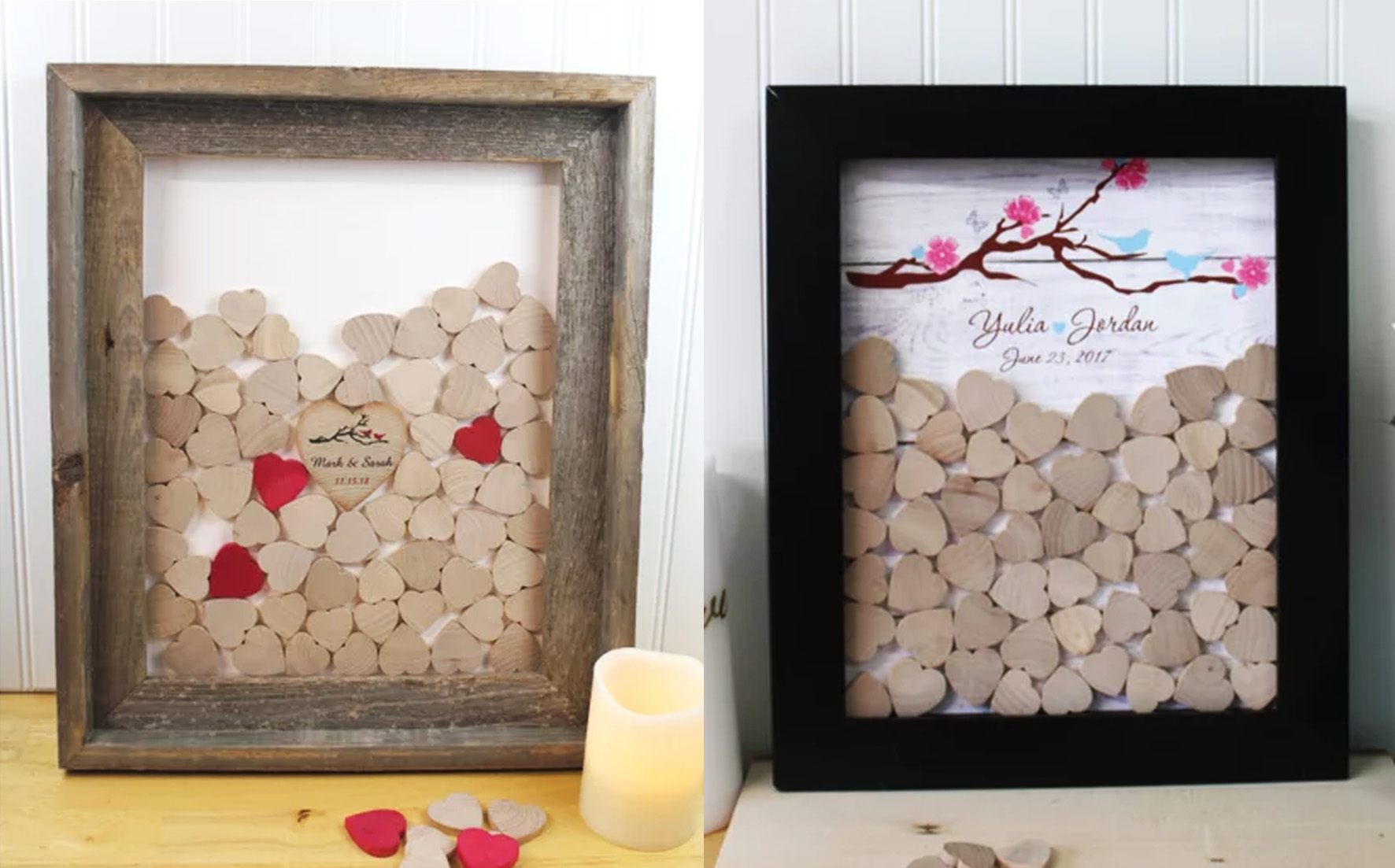 wooden heart-shaped pieces – guest book