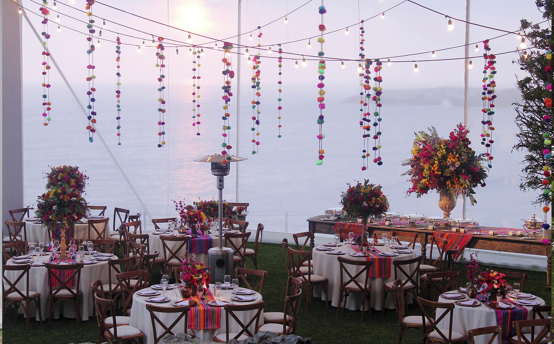 reception wedding front the beach