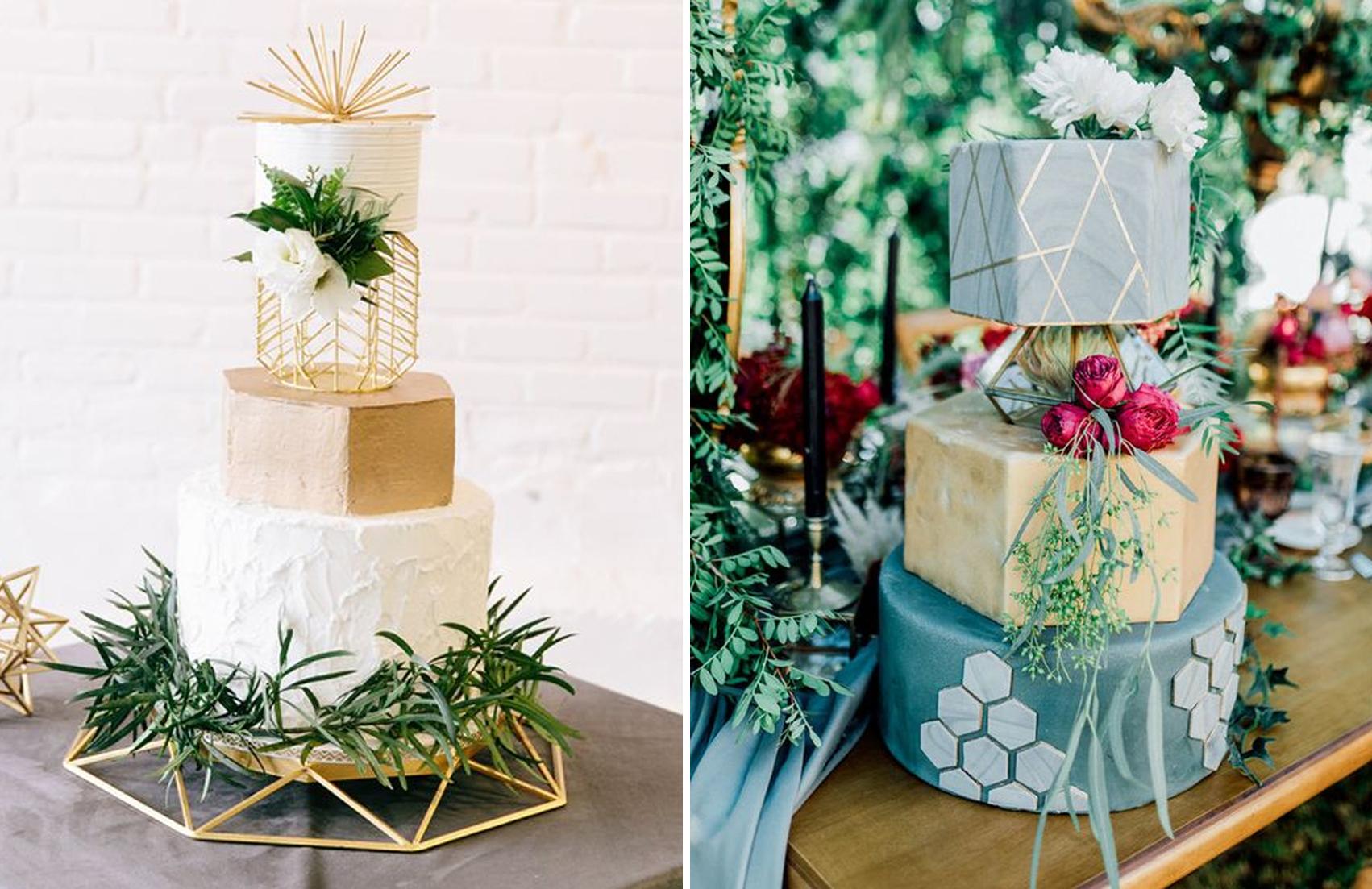 Geometrical shapes wedding cake